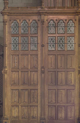 door ornate wood church panelled