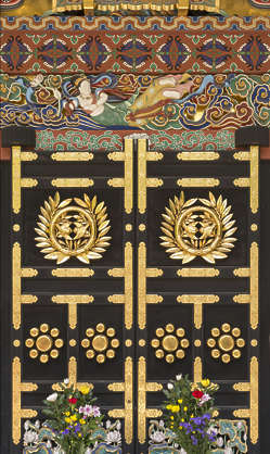 ornament temple shrine japan gold gilded ornate door doors double