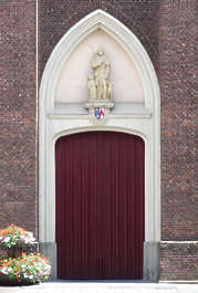 church door arch ornate wood planks