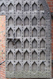 door wood medieval studded