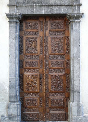 door ornate medieval ornament carving carved