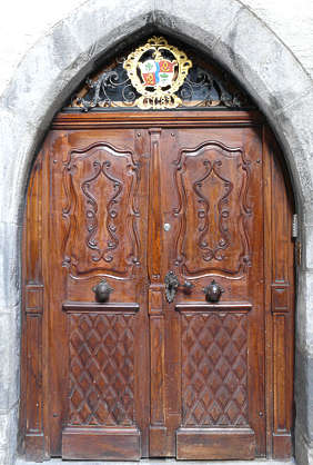 door wood old medieval ornate