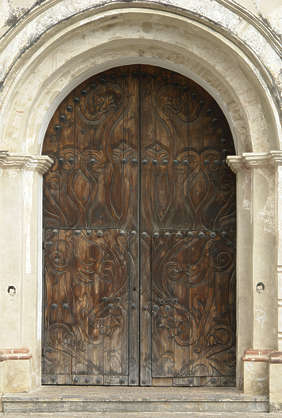 door ornate medieval church wood old wood