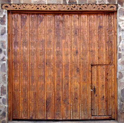door wood ornate big wood planks old
