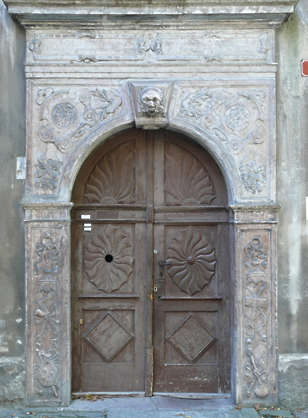door medieval wood old ornate arch
