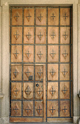 door old medieval wood studded armored