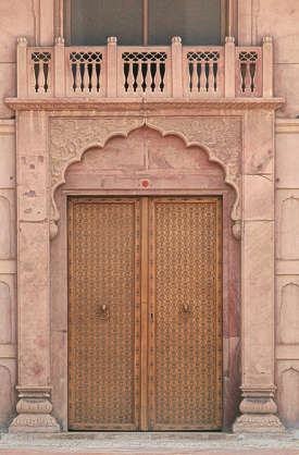india door ornate arch column columns wood