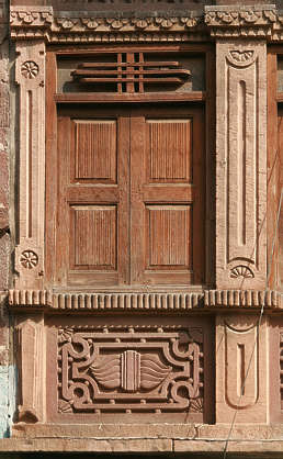 india window ornate shutters