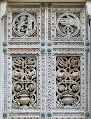 door ornate double carving carved