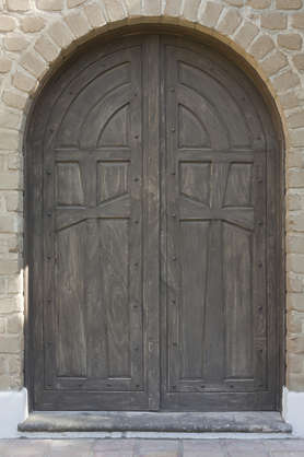 door wood ornate church medieval old arch