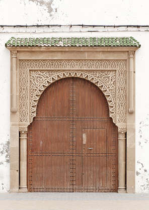 door old double wooden ornate morocco