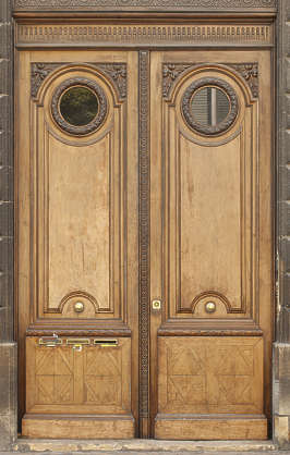 door wood wooden ornate circle double