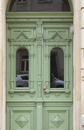 door ornate wooden double tall tenement