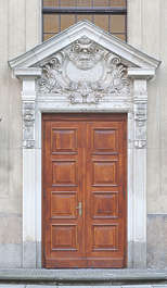 door wooden panelled double ornate neoclassical pediment