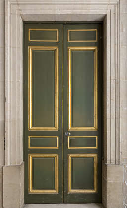 door double paneled ornate ornament gold gilded
