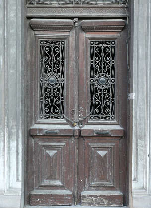 door house old ornate wood panel panelled