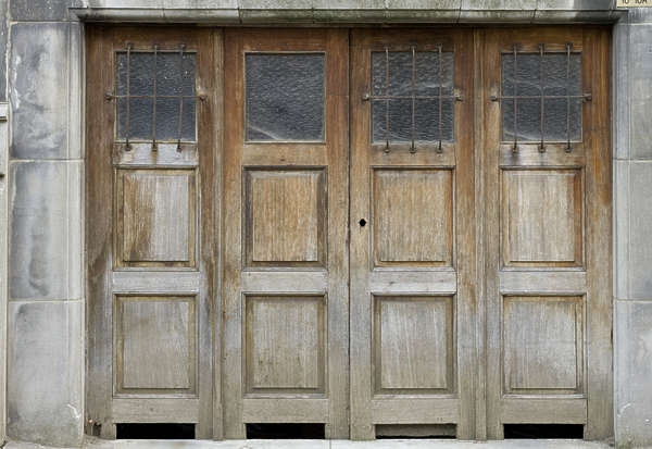 door wood panelled old garage worn