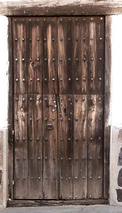 door medieval wood planks old single