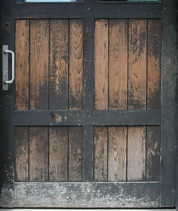 door wood planks old closeup painted grain weathered single