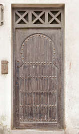 door single old wooden studded morocco