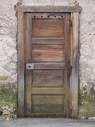 door wood old weathered dirty faded single
