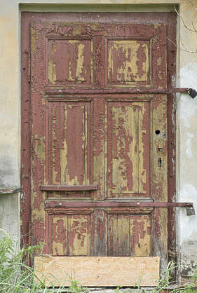 door wooden old painted weathered single