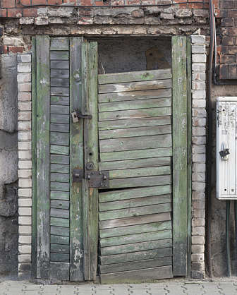 door wooden single old derelict
