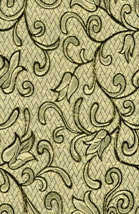fabric pattern flowers gold curls curl flower