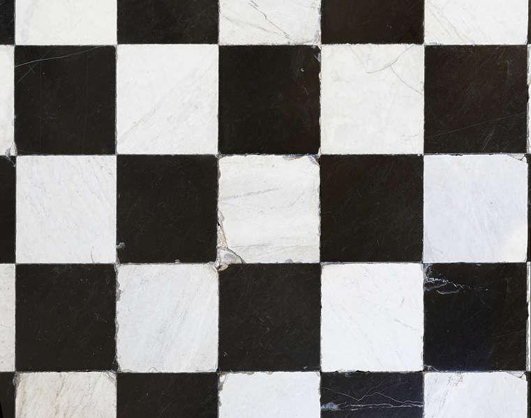 Gray And White Kitchen Checkered Tiles