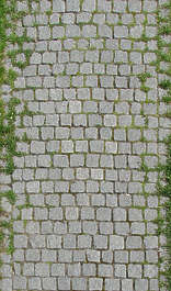 brick floor path cobble cobblestone street tiles grass