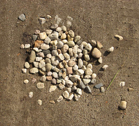 pebbles pothole ground sand
