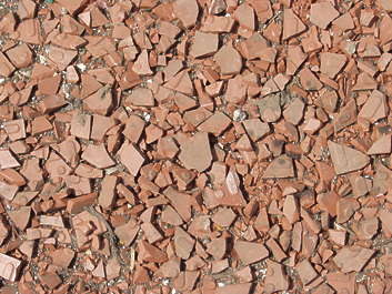pebbles stones fragments pottery broken rooftiles tiles ceramic damaged