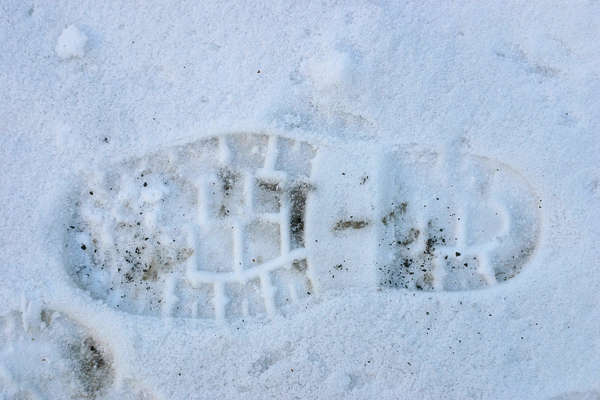 snow footstep shoe track