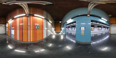 Panorama HDR HDRi lightprobe panoramic high dynamic range spherical 360 indoor artificial light tube fluorescent subway station colorful shiny platform