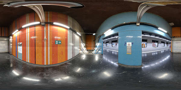 Panorama HDR HDRi lightprobe panoramic high dynamic range spherical 360 indoor artificial light tube fluorescent subway station colorful shiny platform TexturesCom_Pano005