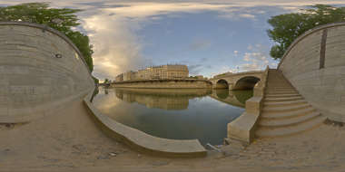 Panorama HDR HDRi lightprobe panoramic high dynamic range spherical 360 outdoor natural light dawn river Seine wall stairs water