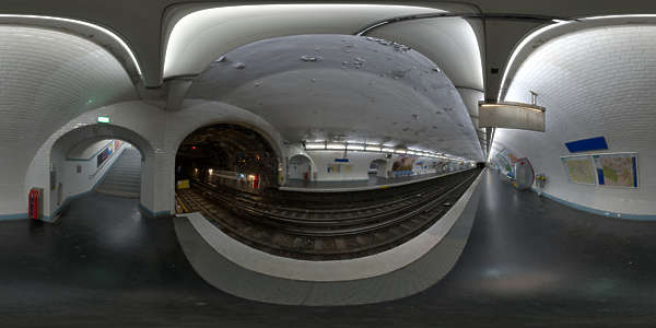 Panorama HDR HDRi lightprobe panoramic high dynamic range spherical 360 indoor artificial light tube fluorescent linear subway station platform TexturesCom_Pano016