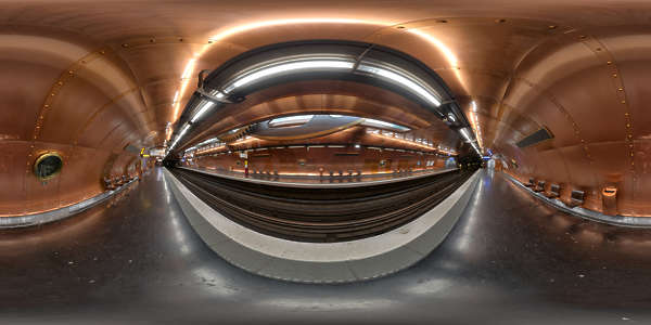 Panorama HDR HDRi lightprobe panoramic high dynamic range spherical 360 indoor artificial light tube fluorescent linear subway station platform steampunk steam punk copper metal TexturesCom_Pano017