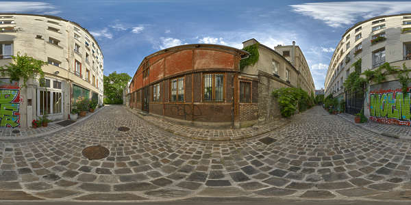 Panorama HDR HDRi lightprobe panoramic high dynamic range spherical 360 outdoor outside natural light paris alley street houses old TexturesCom_Pano022