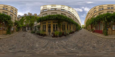 Panorama HDR HDRi lightprobe panoramic high dynamic range spherical 360 outdoor outside natural light paris alley street houses old