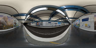 Panorama HDR HDRi lightprobe panoramic high dynamic range spherical 360 indoor artificial light tube fluorescent linear subway station platform