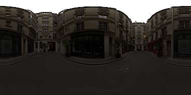 Panorama HDR HDRi lightprobe panoramic high dynamic range spherical 360 outdoor outside overcast courtyard street Paris France