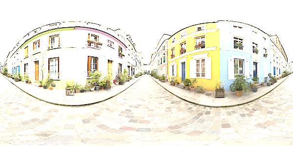 Panorama HDR HDRi lightprobe panoramic high dynamic range spherical 360 outdoor outside overcast street alley Paris colorful TexturesCom_Pano031