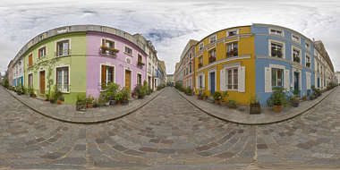Panorama HDR HDRi lightprobe panoramic high dynamic range spherical 360 outdoor outside overcast street alley Paris colorful