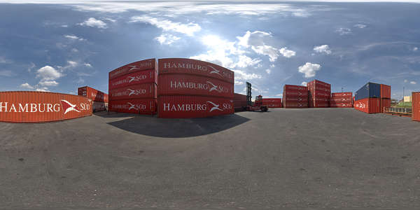 Panorama HDR HDRi lightprobe panoramic high dynamic range spherical 360 outdoor harbor harbour containers container yard shipping blue sky summer clear TexturesCom_Pano036