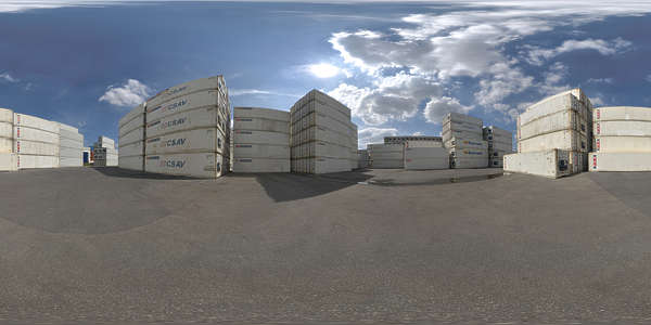 Panorama HDR HDRi lightprobe panoramic high dynamic range spherical 360 outdoor harbor harbour containers container yard shipping blue sky summer clear TexturesCom_Pano039