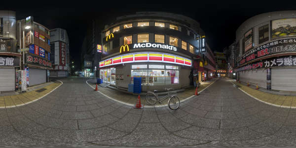 Panorama HDR HDRi lightprobe panoramic high dynamic range spherical 360 outdoor Japan alley neon night