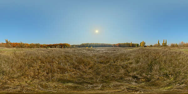 Panorama HDR HDRi lightprobe panoramic high dynamic range spherical 360 outdoor autumn meadow grass field sun clear sky