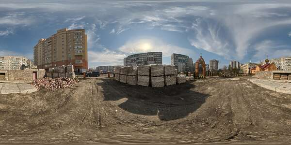 Panorama HDR HDRi lightprobe panoramic high dynamic range spherical 360 outdoor sunny construction site city clouded