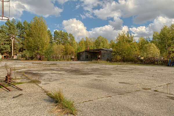 Panorama HDR HDRi lightprobe panoramic high dynamic range spherical 360 outdoor chernobyl pripyat vehicle fleet